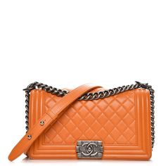 a0b94ad6d15546 This is an authentic CHANEL Lambskin Quilted Medium Boy Flap in Orange.  This chic shoulder