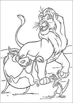 kleurplaat Lion King of de Leeuwenkoning - Simba, Timon en Pumba, de grootste vrienden