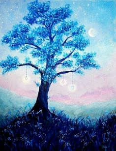 Beautiful blue tree in moonlight Fantasy Landscape, Landscape Art, Fantasy Kunst, Fantasy Art, Cute Wallpapers, Wallpaper Backgrounds, Trendy Wallpaper, Ashita No Nadja, Image Manga