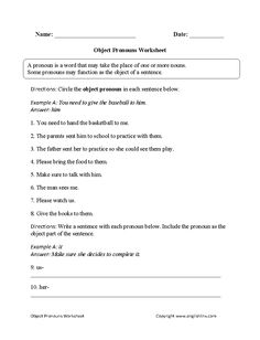 Direct And Indirect Object Pronouns Worksheet Lesson