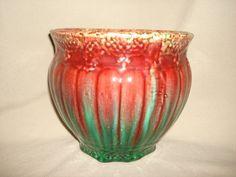 """Antique Victorian Majolica JARDINIERE 8"""" Planter ~ Colorful Red & Green Drip Glaze"""
