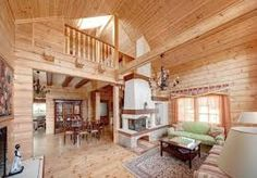 Resultado de imagen de casas de madera Living Room Setup, Interior Decorating, Interior Design, Country Chic, Log Homes, Cozy House, Kitchen Decor, Pergola, House Design