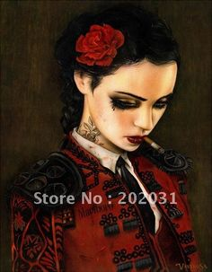 Handmade Canvas Painting Reproduction,Bull fight Her,Smoking Red-lip Sexy Girl