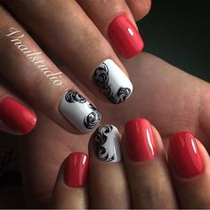 Autumn nails, Beautiful autumn nails, Black and white nail ideas, Fall nails 2016, Festive nails, Medium nails, Nail designs with pattern, Nails for autumn dress
