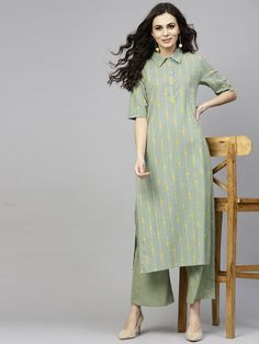 Indian Women Kurta Kurti With Palazzo Dress Top Tunic Set Solid Combo Ethnic New Kurta Designs Women, Kurti Neck Designs, Kurti Designs Party Wear, Dress Neck Designs, Blouse Designs, Ethnic Wear Designer, Indian Designer Outfits, Designer Dresses, Long Dress Design