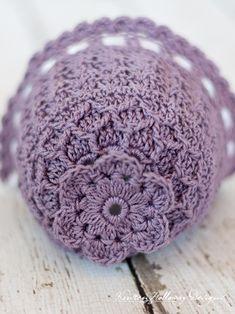 Lavender Blue Baby Bonnet vintage-style lace crochet pattern for babies months. Baby Bonnet Pattern, Crochet Baby Bonnet, Baby Girl Crochet, Newborn Crochet, Crochet For Kids, Crochet Hats, Booties Crochet, Beanie Pattern, Vintage Crochet Patterns