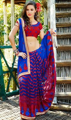 Charming Blue/Red Evening Wear Saree Price: Usa Dollar $92, British UK Pound £54, Euro67, Canada CA$98 , Indian Rs4968.