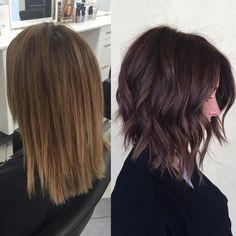 "622 Likes, 19 Comments - BRITTANY GONZALEZ (@hairbybrittanyy) on Instagram: ""Dark rich brown & chopped💛🍂🍁 #brunette #brownhair #shorthair #bob #aline #hairstyles…"""