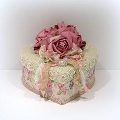 Shabby Chic Decor Parchment Rose Heart Box Vintage Crochet Doily Rhinestone Embellishment  Boxes
