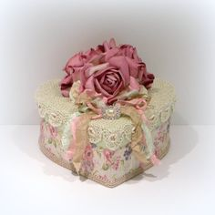 Shabby Chic Decor Parchment Rose Heart Box Vintage Crochet Doily Rhinestone Embellishment Boxes