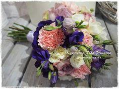 Bukiet ślubny :-) krem, róż, fiolet :-)
