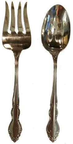 Cambridge by Gorham Sterling Silver Lettuce Set 2pc Gold Washed 9 14 Serving