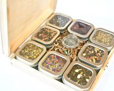 Tea Tin Sampler Gift Set, 8 Tins of Loose Leaf Tea in Wood Gift Box, Tea Infuser, Corporate Gift, W Wood Gift Box, Wood Gifts, Diy Gifts, Peppermint Tea, Red Rooibos Tea, Cigar Gifts, Tea Gift Sets, Jasmine Green Tea, Packaging
