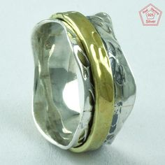 Fashionable Two Tone 925 Sterling Silver Spinner Ring R6111, Sz. 8 US #SilvexImagesIndiaPvtLtd #Spinner #AllOccasions