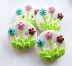 Colorful Flowers buttons  handmade polymer clay buttons by ayarina, $7.99