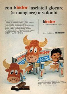 La pubblicità del cioccolato Kinder in un'immagine degli anni '70