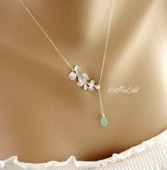 Birthstone and Orchid Necklace bridesmaids gifts by hotmixcold, $34.00
