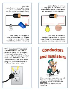 a nice little booklet on conductors and insulators. Primary Science, Elementary Science, Physical Science, Science Classroom, Teaching Science, Science Projects For Kids, Science Experiments Kids, Science Fair, Science Lessons