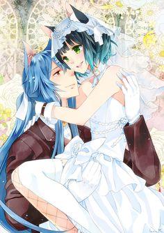 ✮ ANIME ART ✮ wedding. . .bride. . .groom. . .cat boy. . .cat girl. . .nekos. . .bridal. . .wedding dress. . .ribbon. . .veil. . .gloves. . .stockings. . .embrace. . .romantic. . .cute. . .kawaii