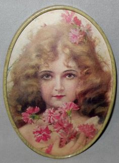 This is a charming small vintage print of a young blonde haired girl. She is…