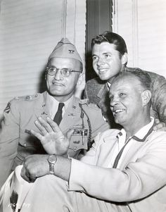 """Audie with Jesse Hibbs, the director of """"To Hell and Back"""" and his old WWII Commanding Officer, Colonel (then LtCol) Michael Paulick on the set of """"To Hell and Back."""" Colonel Paulick was the technical advisor for the movie"""