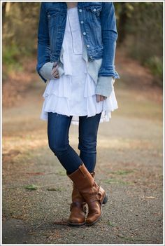 Dress over Jeans // Levis Jacket + Inhabit Cashmere Cardigan + Free People Sunbeams Dress+ DL1961 Emma Bloom + Frye Harness Boots