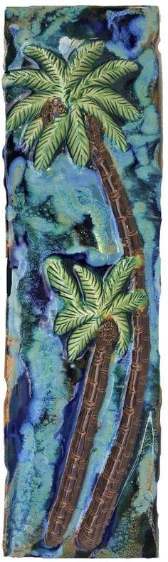 Palm Tree Art, Palm Trees, Hawaiian Sea Turtle, Hawaiian Designs, Handmade Kitchens, Artwork, Tile, Painting, Shower
