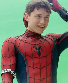 All smiles for Tom Holland as he suits up during test-filming for Captain America: Civil War.