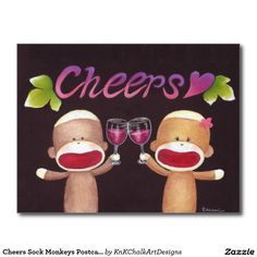 Cheers Sock Monkeys Postcard