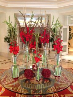 Red always makes an impact, but when it's a red gladiolas, you're sure to make a statement! We created this bold yet elegant arrangement for the Ritz-Carlton Spa.