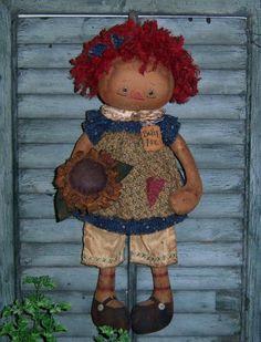 Primitive Raggedy Ann Annie Sunflower Doll Pattern . http://www.patternmart.com/pattern/15702/Primitive+Raggedy+Ann+Annie+Sunflower+Doll+Pattern+PM592