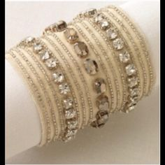 """Stella and Dot St.Tropez cuff bracelet. NO TRADES Linen cuff has hand sewn Swarovski crystals. Bracelet closes to 6.5-7"""", so it better for a smaller wrist.  NO TRADES Stella & Dot Jewelry Bracelets"""