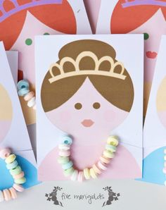 Disney princess party favors  we love these candy necklace ideas plus 20 FREE Disney Printables - Crafts, Coloring, Planning, Creativity and More on Frugal Coupon Living.