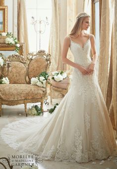 Mori lee 2016 2017 fit and flare aline lace wedding dress with sparkly straps in gold