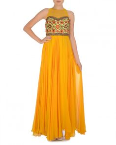 Monarch Orange Gown with Embroidered Bodice