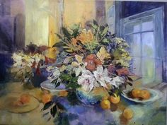 Flowers In Vase On Table With Fruit  - Gradwell Margaret