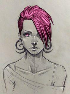 Raven Underwood 26 ans Cheveux roses, rasés d'un côté Yeux roses Elle est la grande sœur des jumeaux Léo et Loan et sont tous les trois orphelins