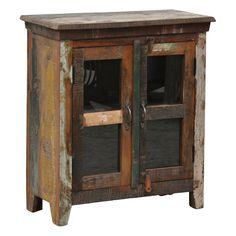 Channy Brown 2-door Glass Cabinet | Overstock.com