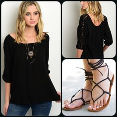 Bohemian Black Blouse/Last One This adorable top is the perfect boho top for the summer. Lightweight material and crochet accented quarter sleeves. Shoe pic is for styling only and not available (This closet does it trade or use PayPal) Blue Sketch Tops Blouses