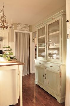 curtained door opening & shabby chic china cabinet