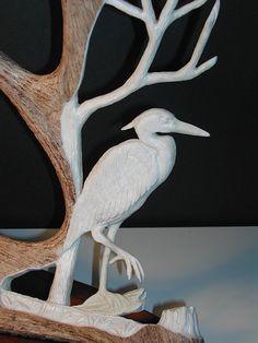 Blue Heron-moose antler www.antlerstoart.com