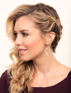 Braids can get a little boring, so it's always fun to play around with texture and mix-and-match braid styles. If you don't feel like braiding all your hair or creating an updo, this side wrap braid is the perfect choice! Ready for half-up-down adventure? Here's how to style: 1. Curl your hair with an 1-inch curling iron. If you have a lot of hair, split it in sections. 2. Tease hair with a teasing comb and lightly lift your roots with the tail-end of the comb. 3. Gently brush out curls...