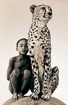 Africa: San girl with cheetah, Namibia, Gregory Colbert