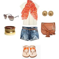 Casual Summer Outfit - polka dots! love that orange polka dot scarf!