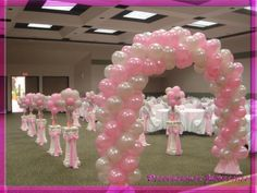 white and pink balloon décor for main dance floor quinceanera Wedding Balloon Decorations, Quinceanera Decorations, Wedding Balloons, Birthday Decorations, Baby Shower Decorations, Balloon Columns, Balloon Arch, Balloon Ideas, Ballon Arrangement