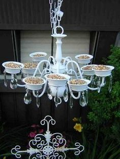 Chandelier birdfeeder. You could also substitute with plants