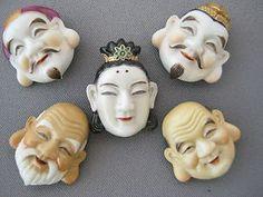 Vintage Japanese Toshikane Ceramic Buttons