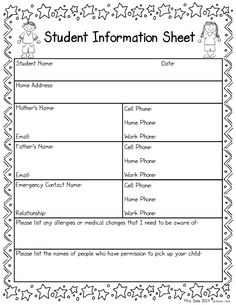 daycare information sheet template - student information sheet good idea for when parents