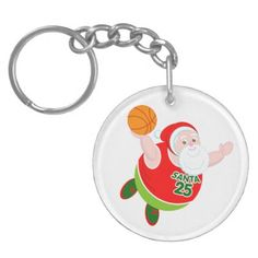 Fun cartoon of Santa & Rudolph playing basketball Keychain - christmas keychains family merry xmas personalize gift idea