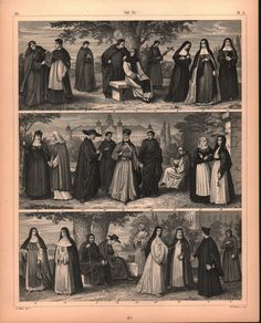 Monk Nun Priest Missionary Antique Print 1857
